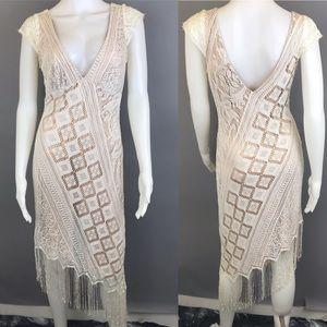 Moda Lace Dress Fringe Asymmetrical Boho Size 12